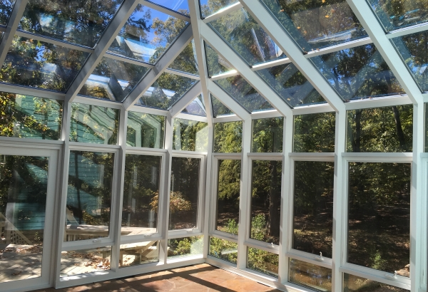 custom glass sunroom in SC.  The custom sunroom was built using aluminum and glass in Columbia, SC
